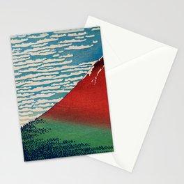 Vintage Japanese Landscape Illustration With Red Volcano Stationery Cards