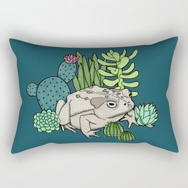 Toad with Succulents - Dark Turquoise Rectangular Pillow