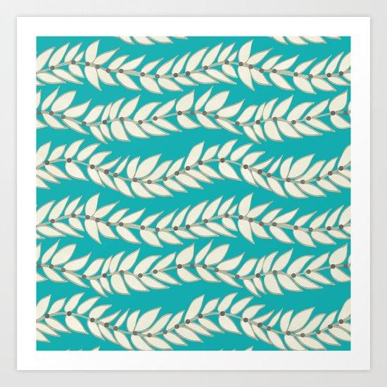 Leaf Dot Stripe Teal Art Print
