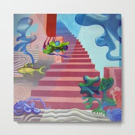Down to the Sea Bottom, Octopus's Garden landscape painting by Hilaire Hiler Metal Print