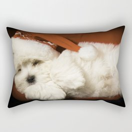 Sleepy Santa Puppy Rectangular Pillow