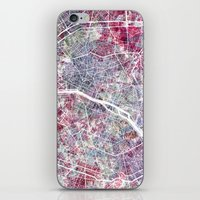 paris map iPhone & iPod Skins featuring Paris Map by MapMapMaps.Watercolors
