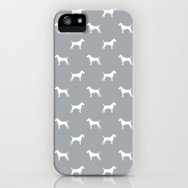 Jack Russell Terrier grey and white minimal dog pattern dog silhouette pattern iPhone Case