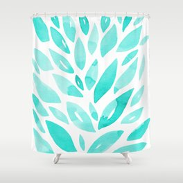 Watercolor floral petals - aqua Shower Curtain