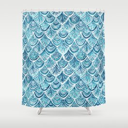 NAVY LIKE A MERMAID Fish Scales Watercolor Shower Curtain