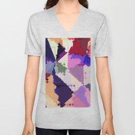 geometric square pixel and triangle pattern abstract in pink purple blue Unisex V-Neck