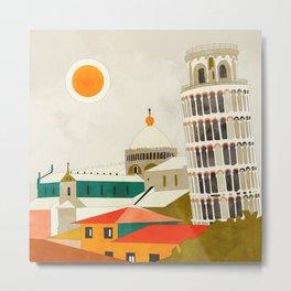 travel europe Italy shapes pisa tower Metal Print