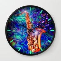 saxophone Wall Clocks featuring Saxophone by JT Digital Art