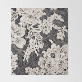 black and white lace- Photograph of vintage lace Throw Blanket