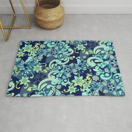 Fresh Mint and Navy Doodle Rug