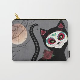 Sugar Skull Black Cat Carry-All Pouch