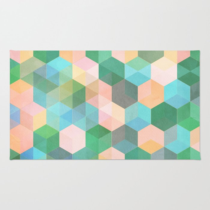 Childu0027s Play   Hexagon Pattern In Mint Green, Pink, Peach U0026 Aqua Rug
