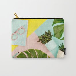 Succulents on pastel colors background. Flat lay, copy space Carry-All Pouch