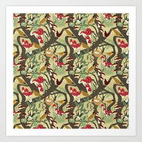 North American Forest Pattern (Natural) Art Print