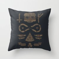 occult Throw Pillows featuring Fast Food Occult by Hector Mansilla