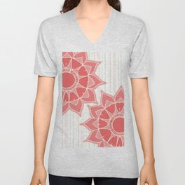 Pastel color coral pink floral mandala stripes Unisex V-Neck