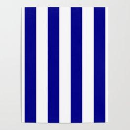 Australian Flag Blue and White Wide Vertical Beach Stripe Poster
