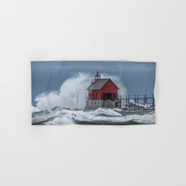 Grand Haven Lighthouse in a November Storm on Lake Michigan Hand & Bath Towel