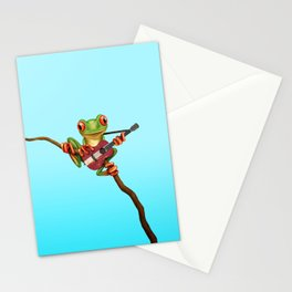 Tree Frog Playing Acoustic Guitar with Flag of Latvia Stationery Cards