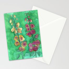Hollyhock Foxglove Watercolor Honey & Berry on Green Stationery Cards
