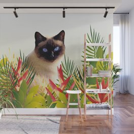 Siam Cat in garden with Heliconia Flowers Wall Mural