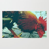 cock Area & Throw Rugs featuring cock by habish