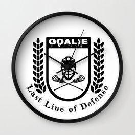 Lacrosse Goalie Last Line of Defense Lacrosse Goaltender Wall Clock