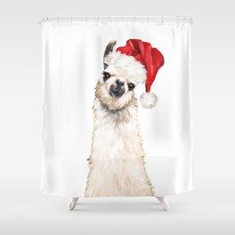 Christmas Llama Shower Curtain