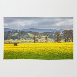 Yellow Fields Along The Eel River Rug