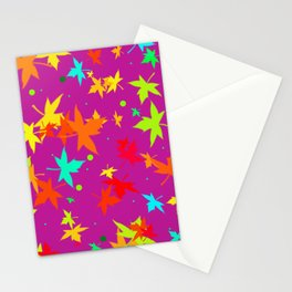 Forever Autumn Leaves purple 4 Stationery Cards