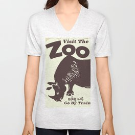 Visit the Zoo Rhino vintage poster Unisex V-Neck