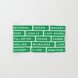 Famous Chicago Streets // Chicago Street Signs Hand & Bath Towel