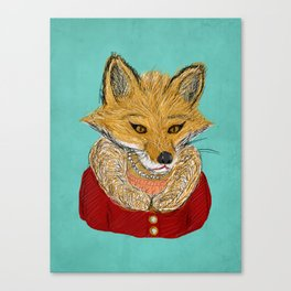 Sophisticated Fox Art Print Canvas Print