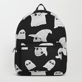 Black and White Hand Painted Kawaii Ghost Pattern Backpack