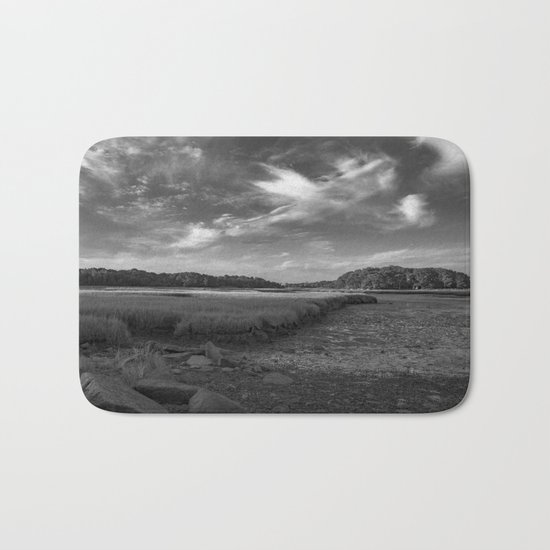 Sky and Marsh Black and white Bath Mat