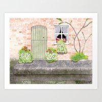 Green door by the canal Art Print