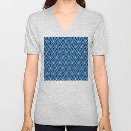 Blue And White Art Deco Sophisticated Pattern Unisex V-Neck