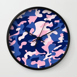 Blue Pink Camouflage Wall Clock