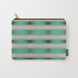 Green Ribbon With Cream Tile Stripes Carry-All Pouch