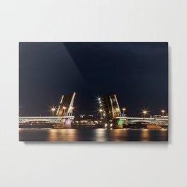 Open bridge over the Neva river at night (St. Petersburg, Russia) (2012-7SPB) Metal Print