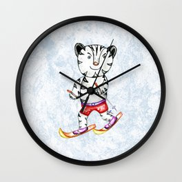 Sporty White Tiger on Ski Wall Clock
