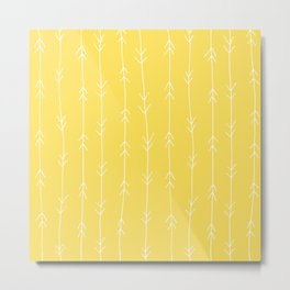 Yellow, Canary: Arrows Pattern Metal Print