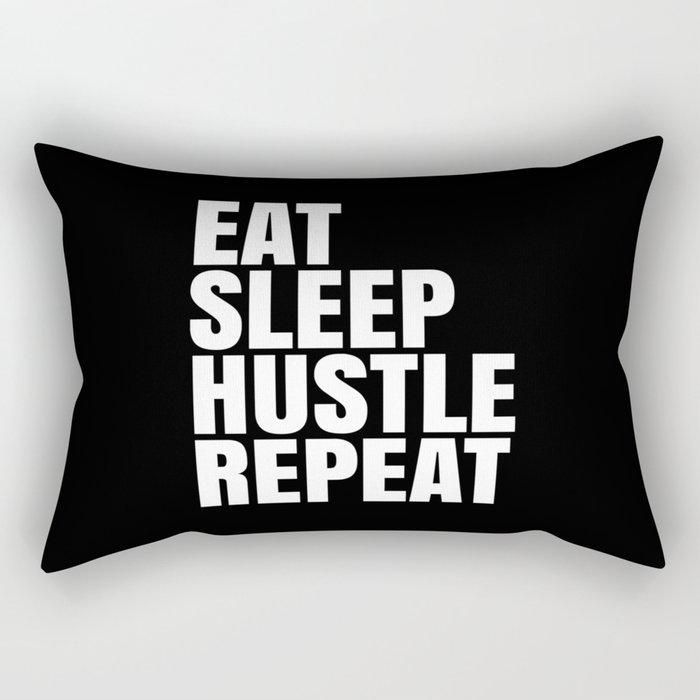 Eat Sleep Hustle Repeat (Black & White) Rectangular Pillow