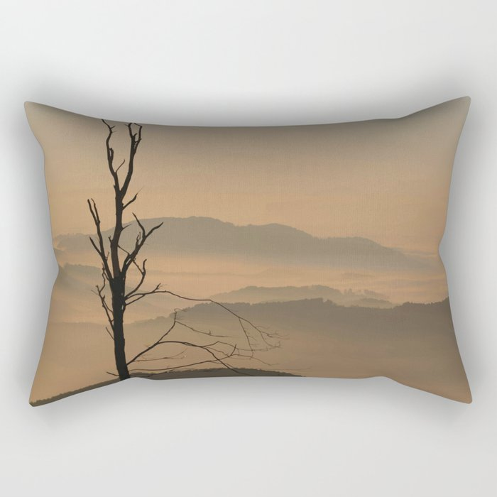 Landscape with Mountains - Tree and Fog Rectangular Pillow
