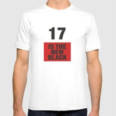 17 is the new BLACK White MEDIUM Mens Fitted Tee