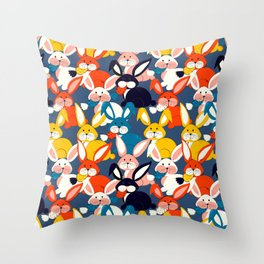 Rabbit colored pattern no2 Throw Pillow
