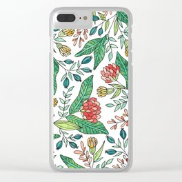 Wildflower Pattern - Full Color Clear iPhone Case