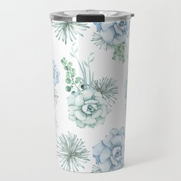 Succulents Pastel Mint Green Turquoise Teal Sky Blue Pattern Travel Mug