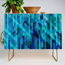 abstract composition in blues Credenza