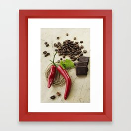Rustic coffee beans kitchen image Framed Art Print